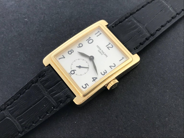 Contemporary Patek Philippe Yellow Gold Gondolo Manual Wind Wristwatch Ref 5010 For Sale