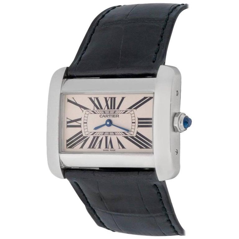 Cartier Stainless Steel Tank Divan Quartz Wristwatch