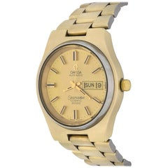 Omega Yellow Gold Seamaster Cosmic 2000 Day Date Automatic Wristwatch