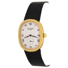Patek Philippe Yellow Gold White Dial Ellipse Quartz Wristwatch