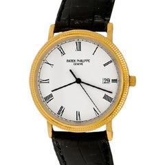 Patek Philippe Yellow Gold White Dial Calatrava Wristwatch