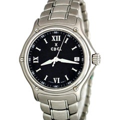 Ebel Stainless Steel 1911 Men's Black Dial Quartz Wristwatch, Huge Savings