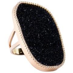 Karolin Black Druzy Agate Diamond Pave Cocktail Ring with 18 Karat Rose Gold