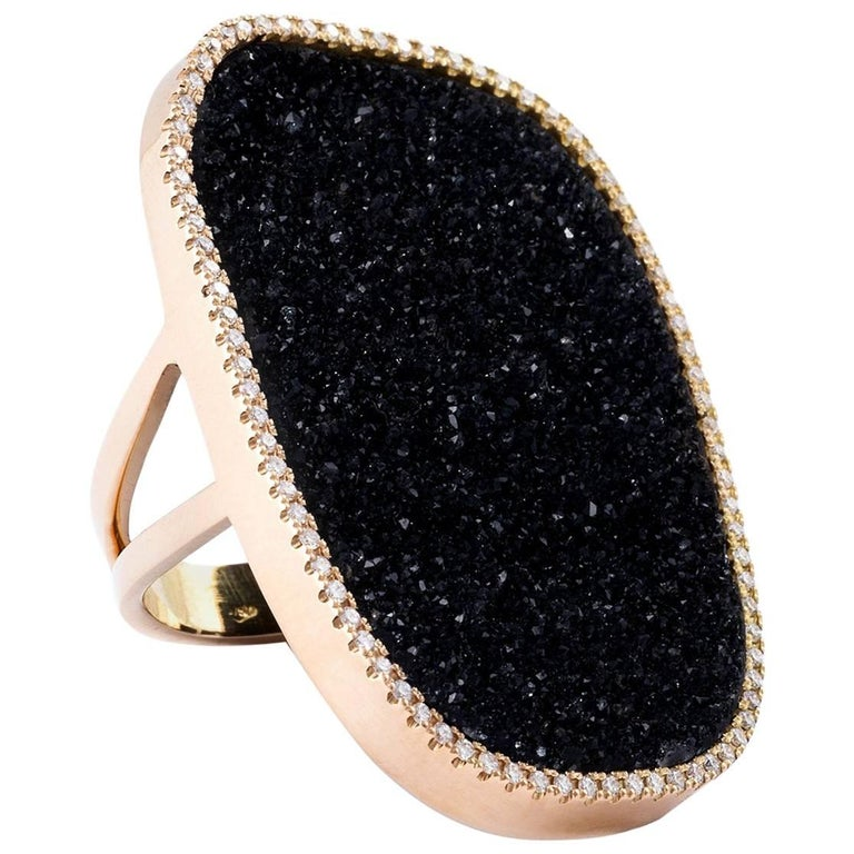 Karolin Black Druzy Agate Diamond Pave Cocktail Ring with 18 Karat Rose Gold