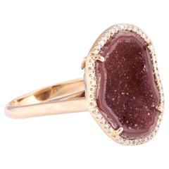 Karolin Rose Gold Clay Agate Geode White Pave Diamond Cocktail Ring