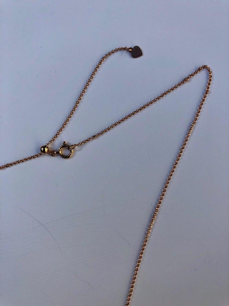 Contemporary Karolin Rose Gold White Diamond Pendant Agate Necklace For Sale