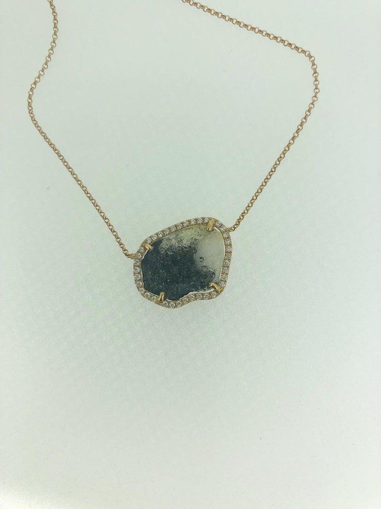 Round Cut Karolin Rose Gold White Diamond Pendant Agate Necklace For Sale