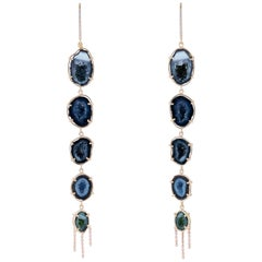 Karolin Rose Gold White Diamond Agate Geode Pavé Hook Drop Earrings