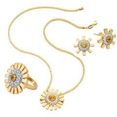 Yellow Gold 18 Karat Diamond Sapphire Cocktail Ring Pendant Earring Suite Set