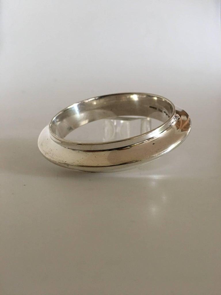 Art Nouveau Hans Hansen Sterling Silver Bangle Bracelet For Sale