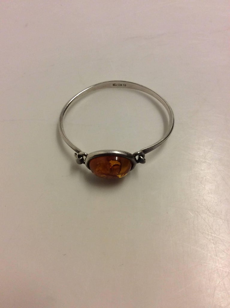 Niels Erik From Sterling Silver Bracelet with Amber.  Inner measurement 5cm / 2