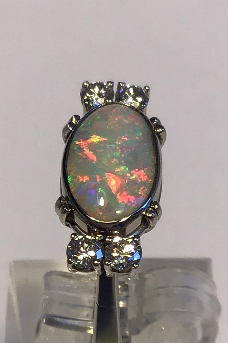 Georg Jensen 18 ct gold Ring Opal and Brilliant Hallmarked GJ&W Ringsize 45/US 3 Weight 5,6 gr/0.20 oz
