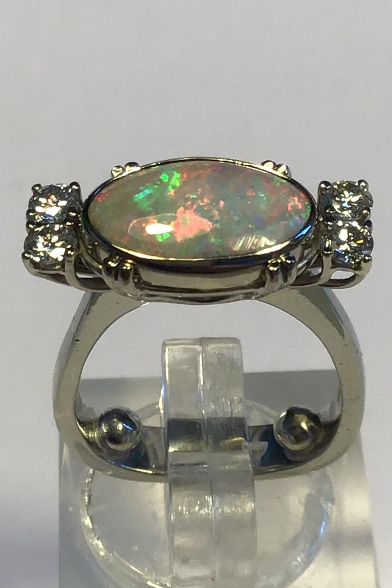 Modern Georg Jensen 18 Carat Gold Ring Opal and Brilliant For Sale
