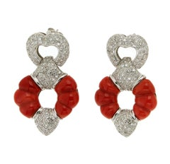 Sardinia Coral White Gold 18 karat Diamonds Drop Earrings