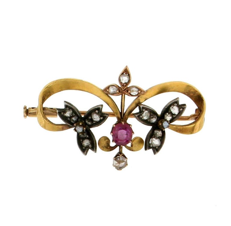 Gold Diamonds And Ruby Brooch