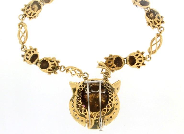 Frascarolo Enamel 18 karat Yellow Gold Diamonds Tiger Pendant Necklace For Sale 1