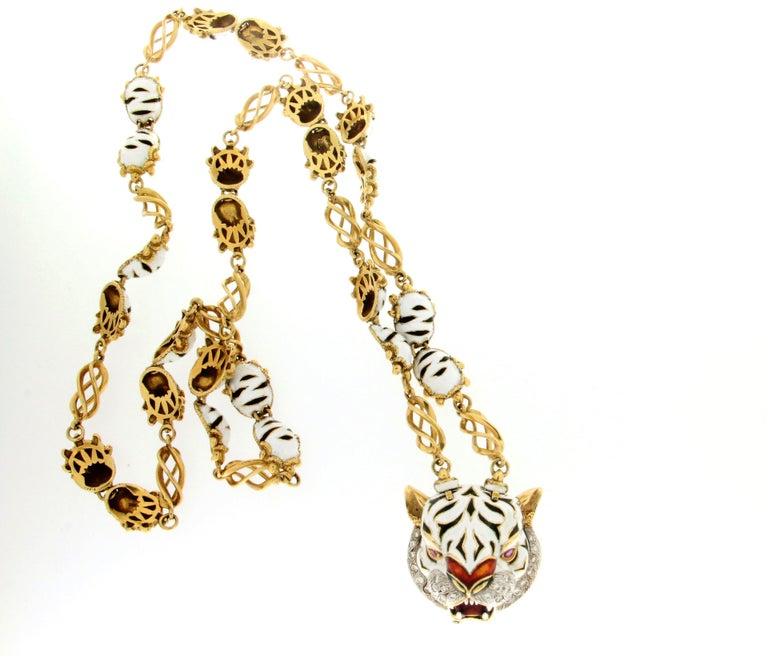 Women's or Men's Frascarolo Enamel 18 karat Yellow Gold Diamonds Tiger Pendant Necklace For Sale