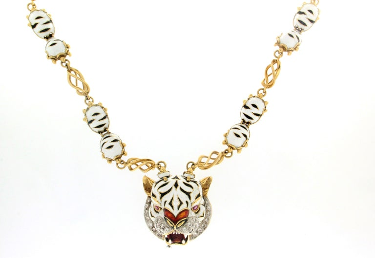 Frascarolo Enamel 18 karat Yellow Gold Diamonds Tiger Pendant Necklace In New Condition For Sale In Marcianise, IT