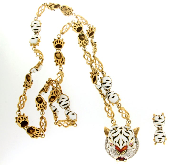Frascarolo enamel 18 karat yellow gold diamonds tiger pendant necklace, is possibile use the tiger like brooch.  Necklace Pendant weight 249 grams Diamonds weight 1 karat Ruby weight 0.50 karat