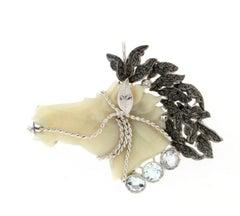 Opal Horse 18 Karat White Gold Diamonds Aquamarine Brooch/Pendant