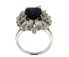 5 Karat Sapphire, 18 Karat White Gold, Diamonds Cocktail Ring