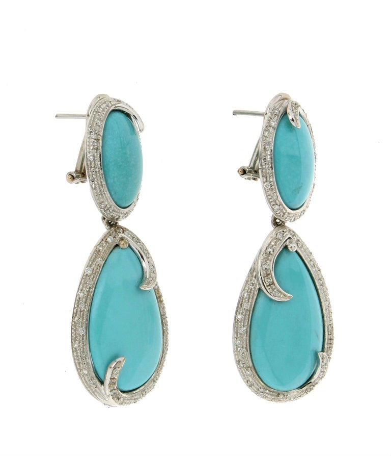 turquoise white gold diamonds drop earrings for sale at. Black Bedroom Furniture Sets. Home Design Ideas