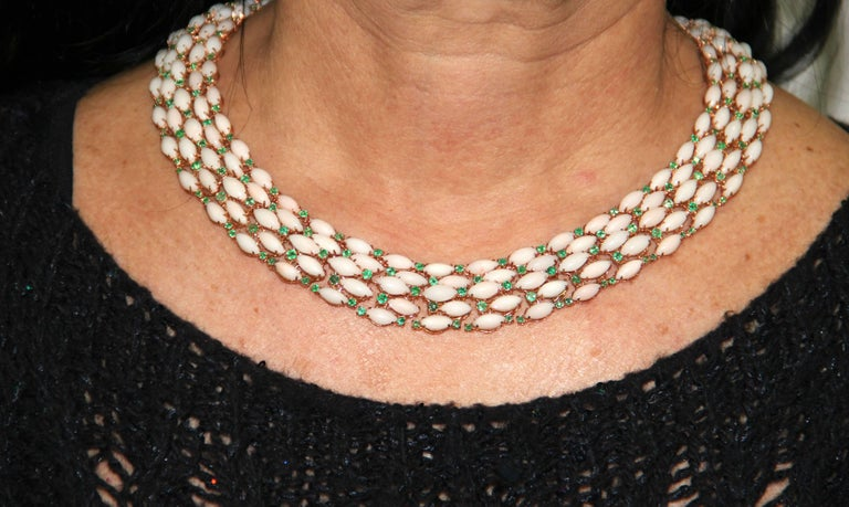 Pink Coral Yellow Gold Emeralds Choker Necklace For Sale 2