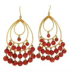 Antique Coral Yellow Gold Drop Earrings