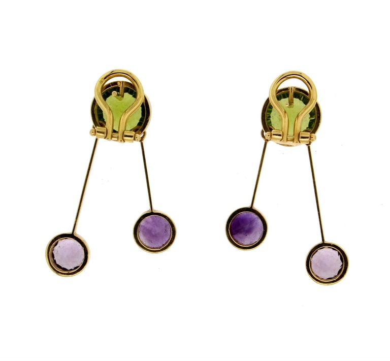 Women's or Men's Yellow Gold Peridot And Amethyst Earrings For Sale