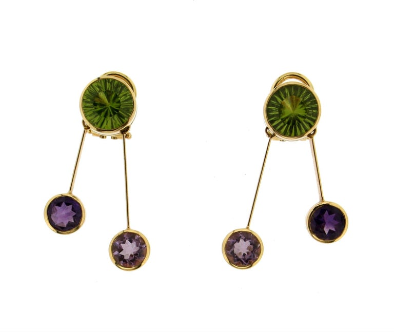 Yellow Gold Peridot And Amethyst Earrings In New Condition For Sale In Marcianise, IT