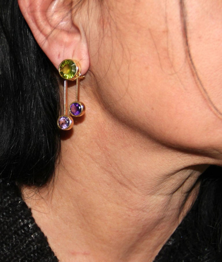 Yellow Gold Peridot And Amethyst Earrings For Sale 1