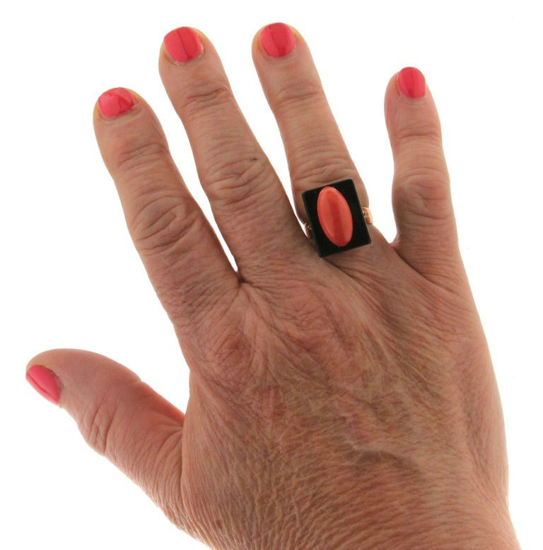 Onyx Coral Gold Cocktail Ring For Sale 2