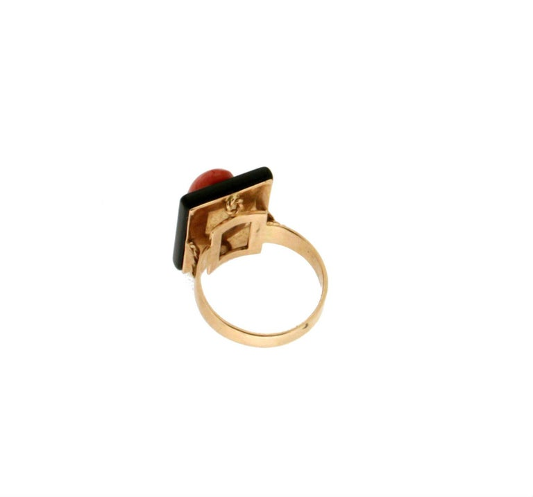 Women's or Men's Onyx Coral Gold Cocktail Ring For Sale