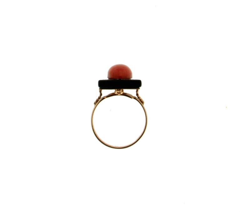 Onyx Coral Gold Cocktail Ring For Sale 1