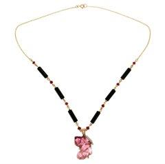 Tourmaline Dog Gold Diamonds Pendant Necklace