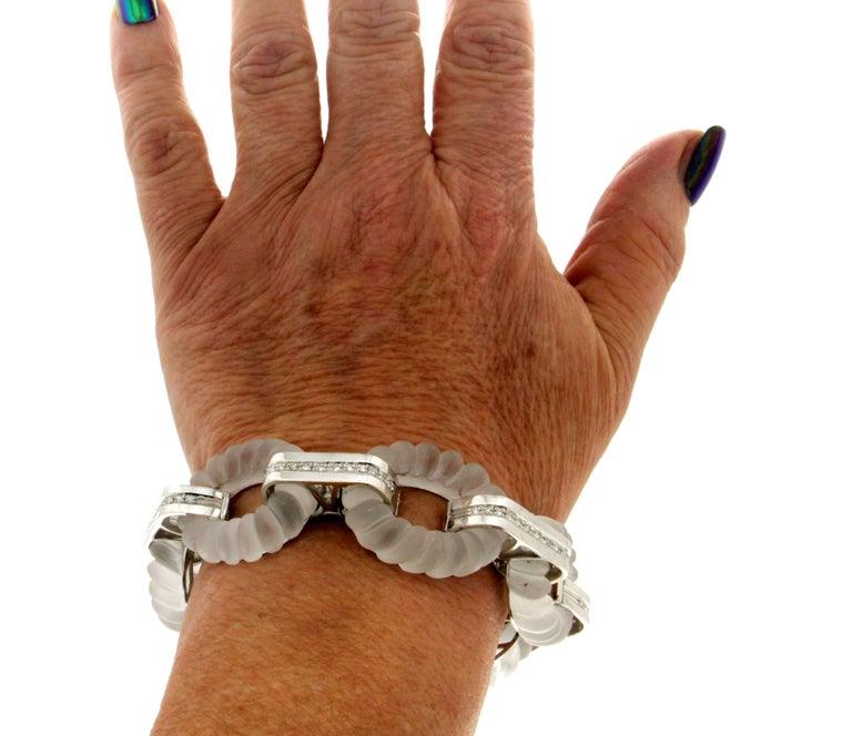 Rock Crystal 18 Karat White Gold Diamonds Cuff Bracelet For Sale 5