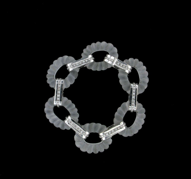 Rock Crystal 18 Karat White Gold Diamonds Cuff Bracelet  Bracelet total weight 81.10 grams Diamonds weight 1 karat Bracelet length 20.50 cm