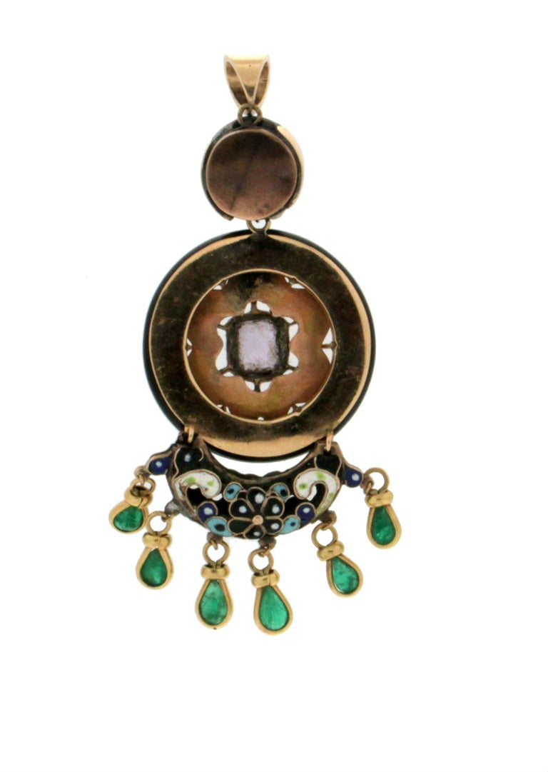 Enamel 14 karat yellow gold mounted with round onyx, emeralds and amethyst pendant necklace  Pendant weight 18.40 grams (the price is without chain)