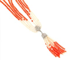 Coral 18 Karat White Gold, Pearls and Diamonds Pendant Necklace