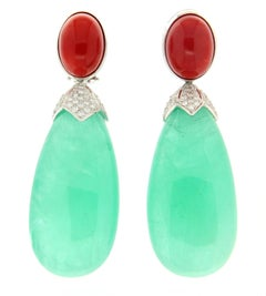 229 Karat Emeralds, 18 Karat White Gold,Coral And Diamonds Drop Earrings