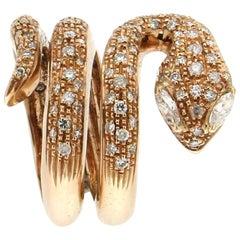 Snake 18 Karat Yellow Gold Diamonds Cocktail Ring