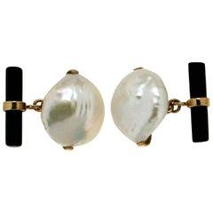18 Karat Yellow Gold, Pearl and Onyx Cufflinks