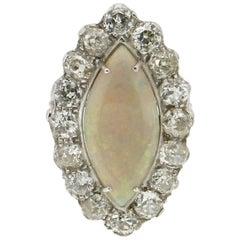Australian Opal 18 Karat White Gold Diamonds Cocktail Ring