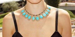 Handcraft Turquoise 18 Karat Yellow Gold Sapphires Diamonds Necklace Parure