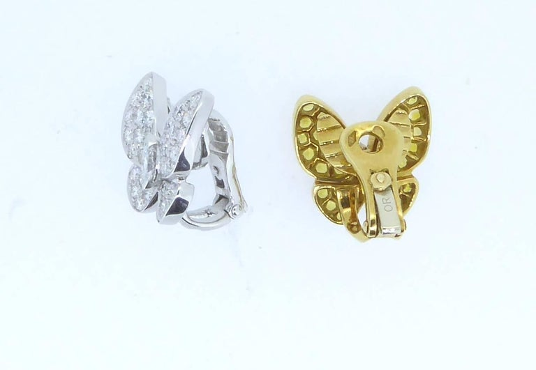 Round Cut Van Cleef & Arpels Yellow Sapphire and Diamond and Gold Butterfly Earrings For Sale