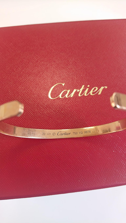 Cartier 18 Carat Yellow Gold Love Cuff Bangle Bracelet For Sale 2