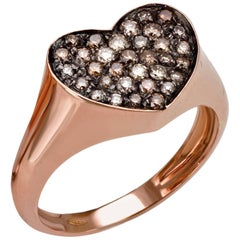 18 Karat Rose Gold and Champagne Diamonds Heart Ring