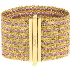 Gold Vermeil  with Pink and Gold Stripe Silk Woven Cuff Bracelet