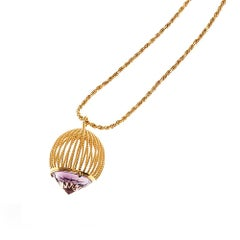 Long Cage Necklace Gold Vermeil and Amethyst