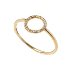 Sweet Pea 18k Yellow Gold and Diamond Open Circle Engagement Ring